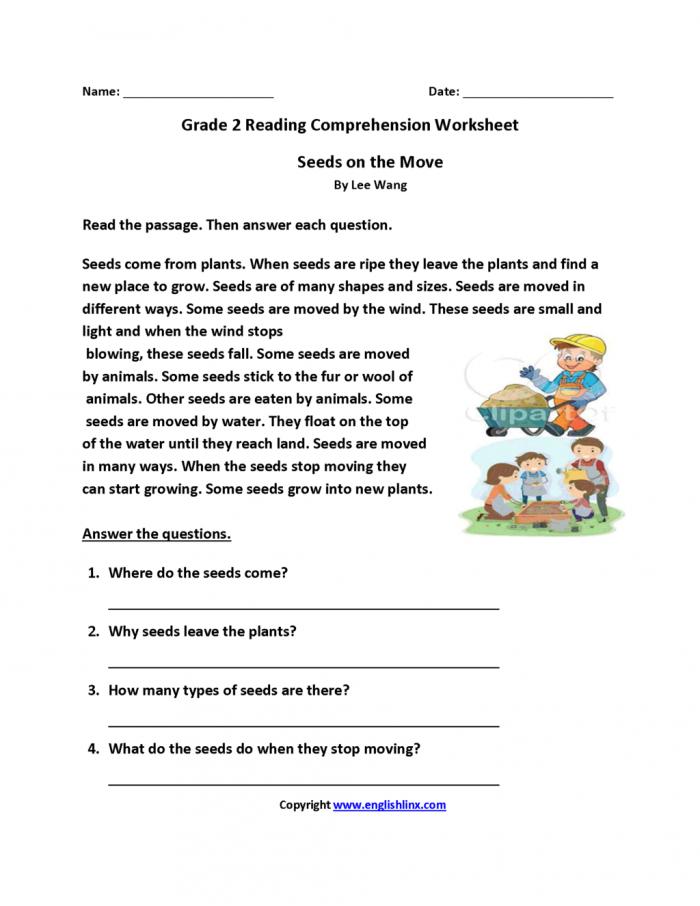 Worksheet  Grade Reading Comprehension Seeds On Move Second