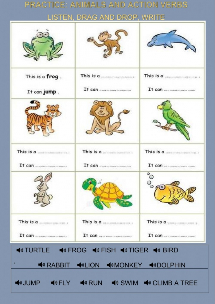 Animals And Action Verbs Worksheet