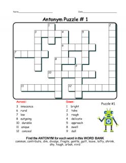 Antonym Crossword Puzzle