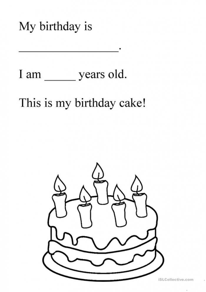 Birthday Cake Worksheet
