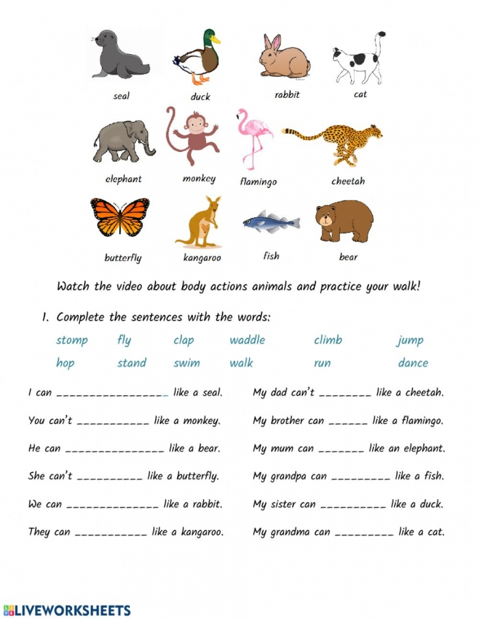 Body Actions And Animals Worksheet