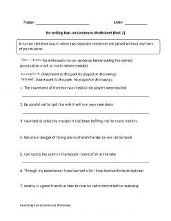 Work On Writing: Run-On Sentences