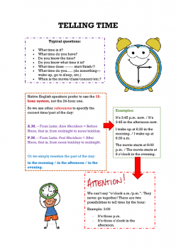 Vocabulary Cards: Telling Time With My Day