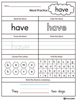 """Write The Sight Words: """"Have"""""""