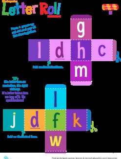 Kindergarten Letter Roll Reading Game