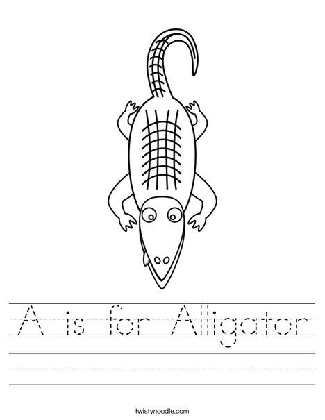 A Is For Alligator Worksheet From Twistynoodlecom