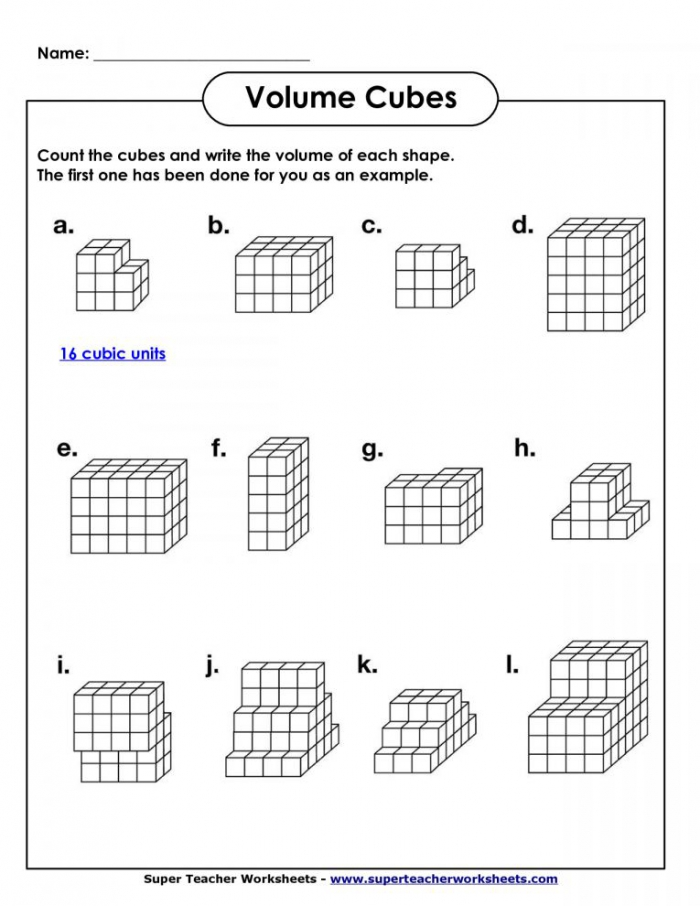 Additive Volume Th Grade Math Worksheet