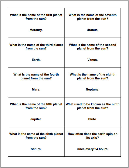 Astronomy And The Planets Trivia Cards