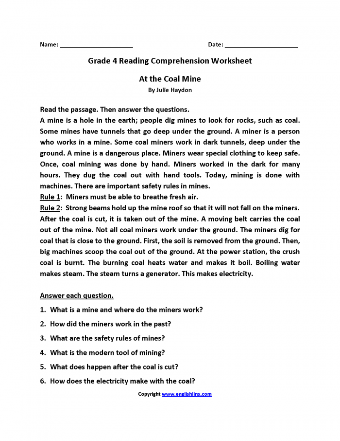 At The Coal Mine Fourth Grade Reading Worksheets