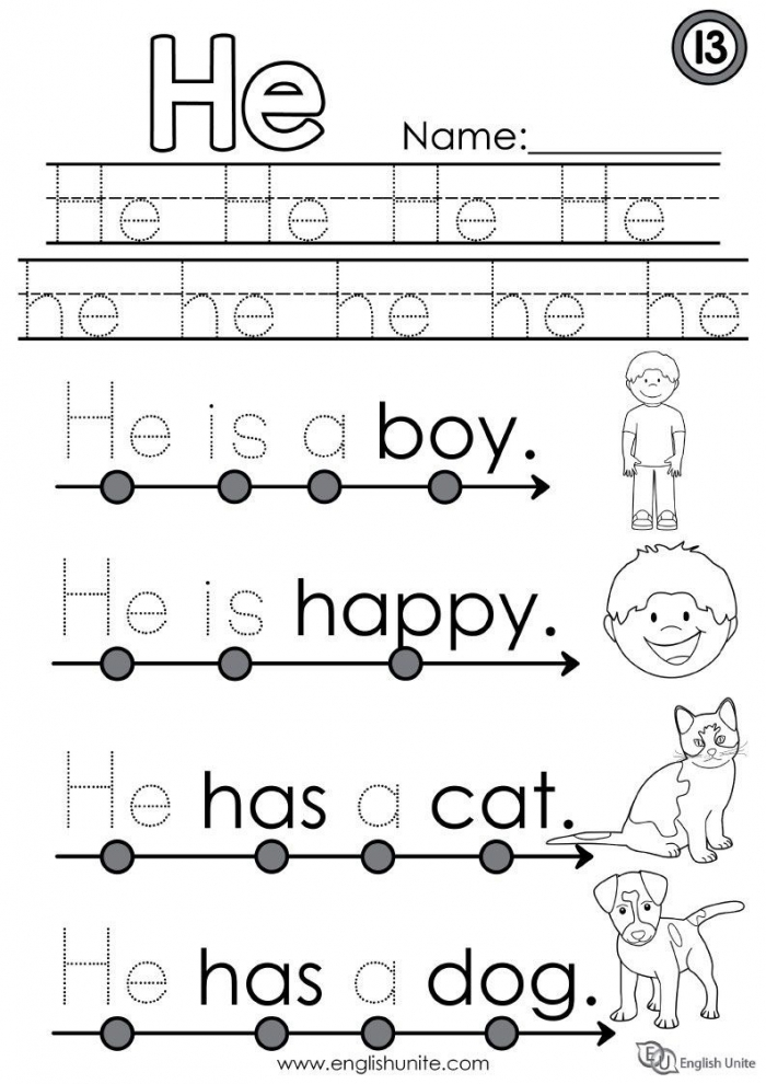 Sight Words: He Worksheets 99Worksheets