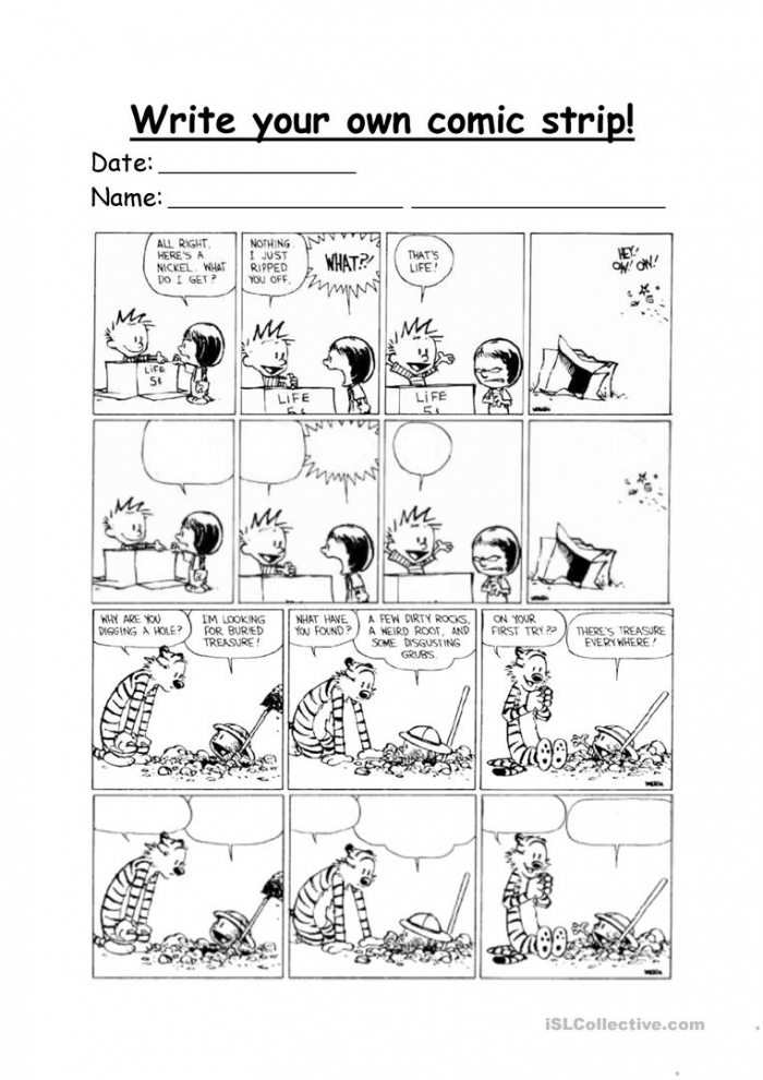 Calvin And Hobbes Make Your Own Comic Strip Worksheet