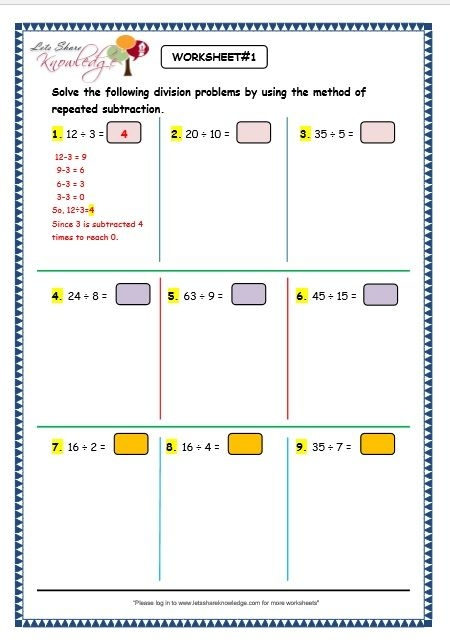 Captivating Division As Repeated Subtraction Year  Worksheets For