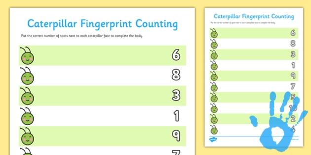 Caterpillar Fingerprint Counting Worksheet