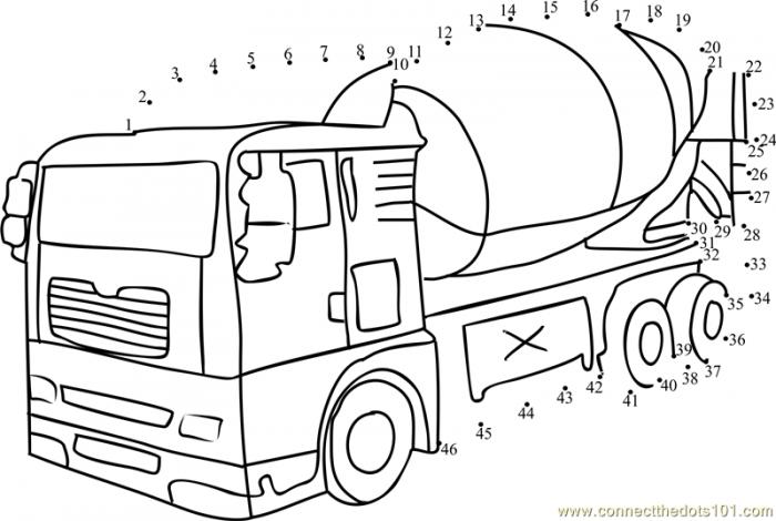Cement Mixer Dot To Dot Printable Worksheet