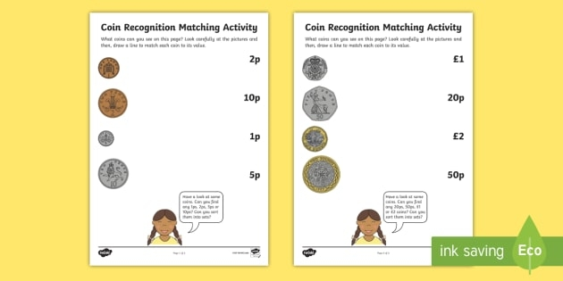Coin Recognition Matching Activity Sheets Teacher Made