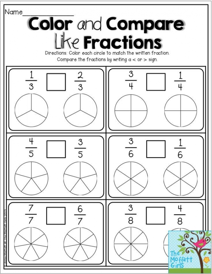 Color And Compare Like Fractions