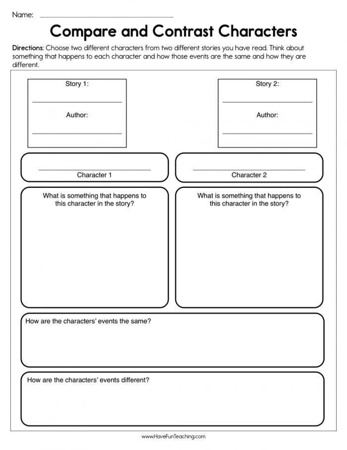 Compare And Contrast Characters Worksheet  Have Fun Teaching