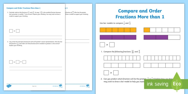 Compare And Order Fractions More Than  Worksheet
