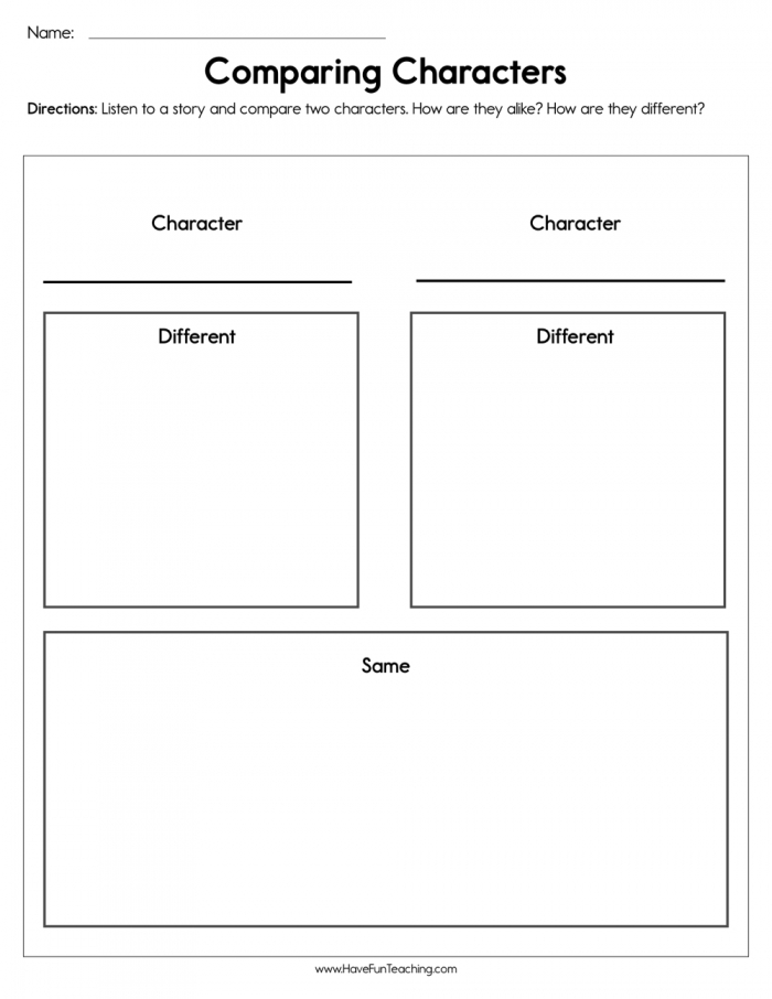 Comparing Characters Worksheet  Have Fun Teaching