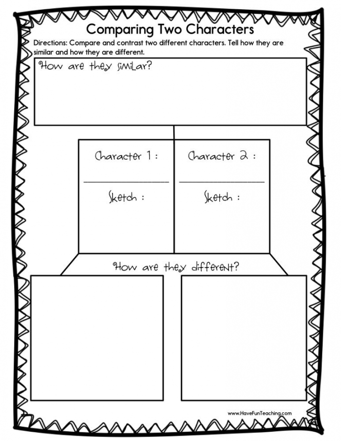 Comparing Two Characters Worksheet  Have Fun Teaching