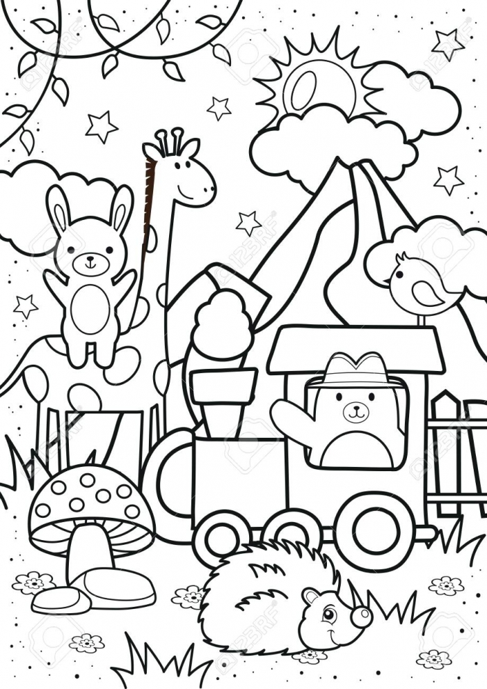 Cute Bear And Friends In The Forest Coloring Pages Kids Coloring