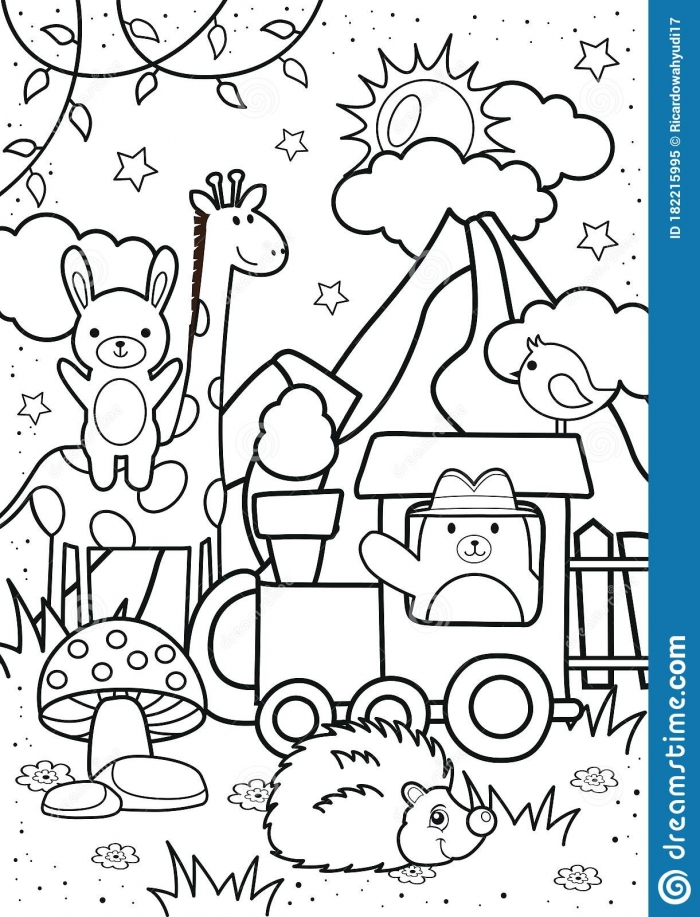 Cute Bear And Friends In The Forest Coloring Pages Stock Vector