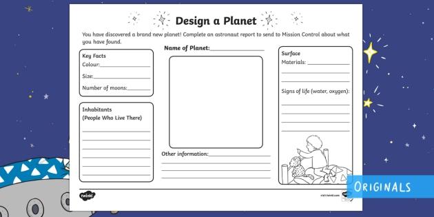 Design Your Own Planet Worksheet