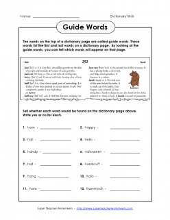 Using The Dictionary Guide Words