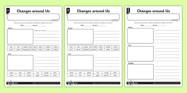 Differentiated Seasonal Changes Around Us Worksheet  Worksheet