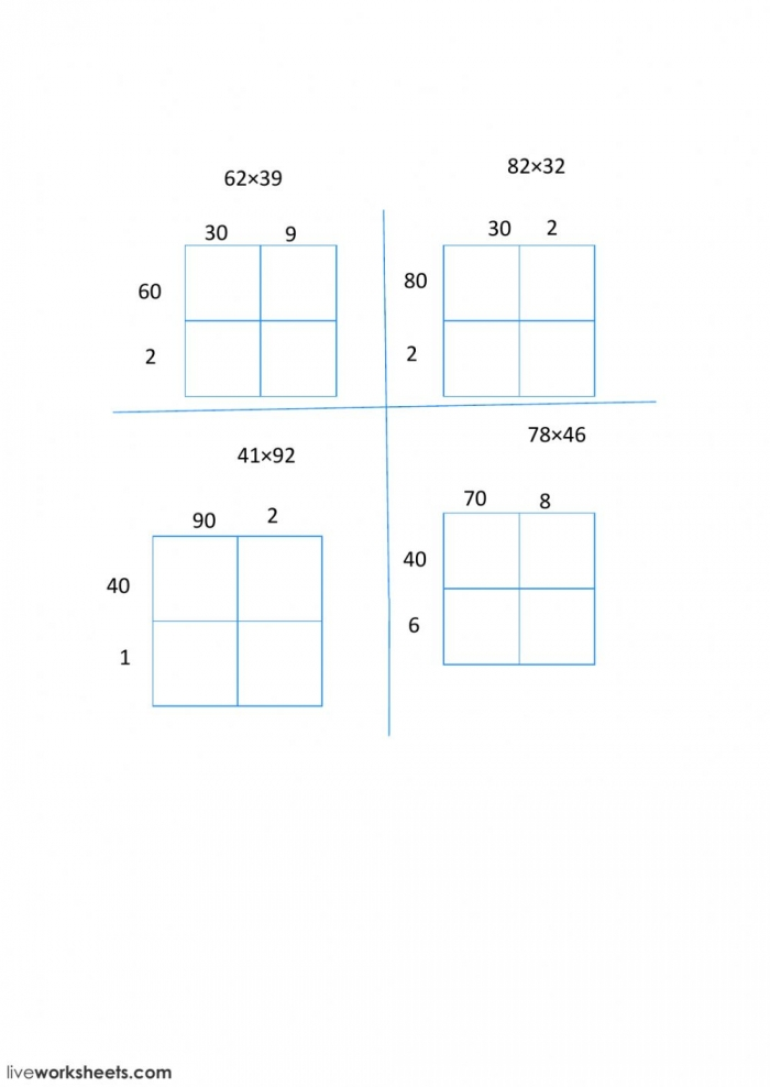 Digit Multiplication With An Area Model Worksheet