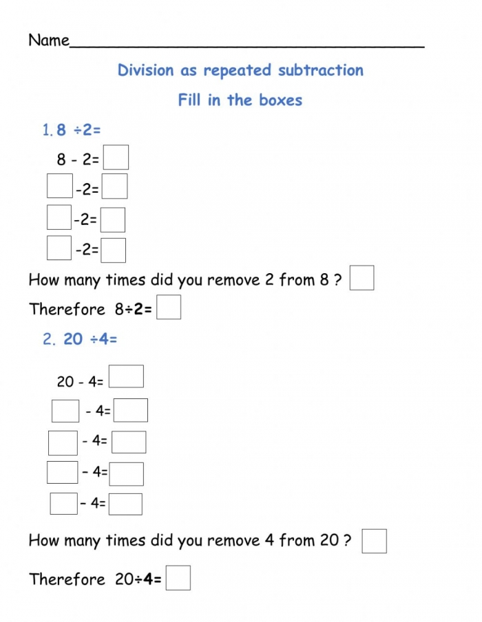 Division As Repeated Subtraction Worksheet