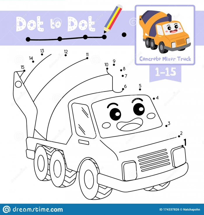 Dot To Dot Educational Game And Coloring Book Concrete Mixer Truck