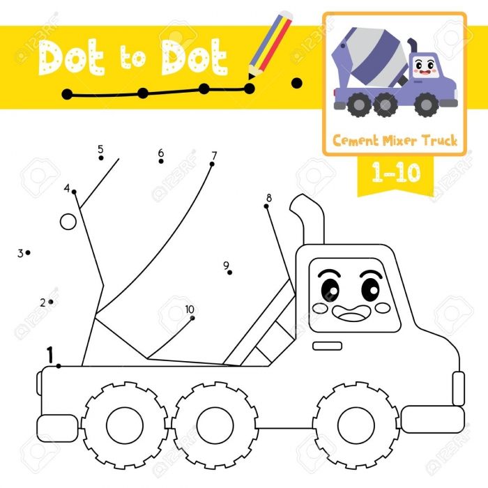 Dot To Dot Educational Game And Coloring Book Of Cute Cement
