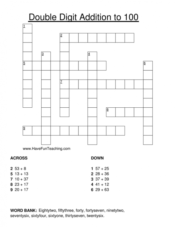 Double Digit Addition Crossword Puzzle  Have Fun Teaching