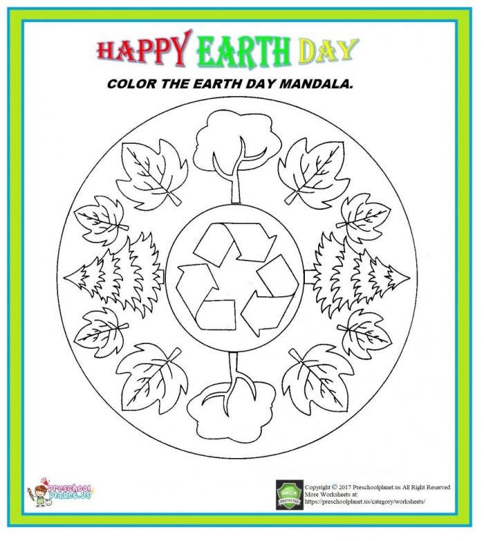 Earth Day Mandala Worksheet  Preschoolplanet