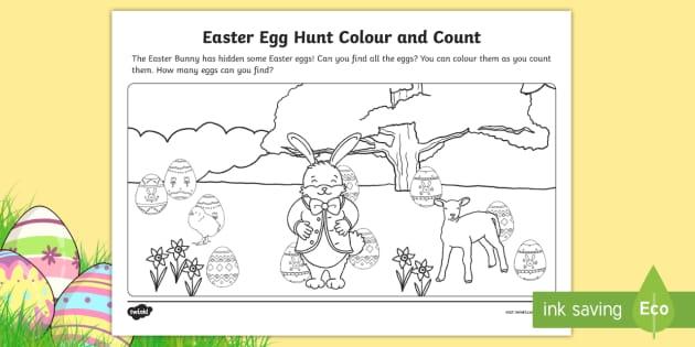 Easter Egg Hunt Color And Count Worksheet Teacher Made
