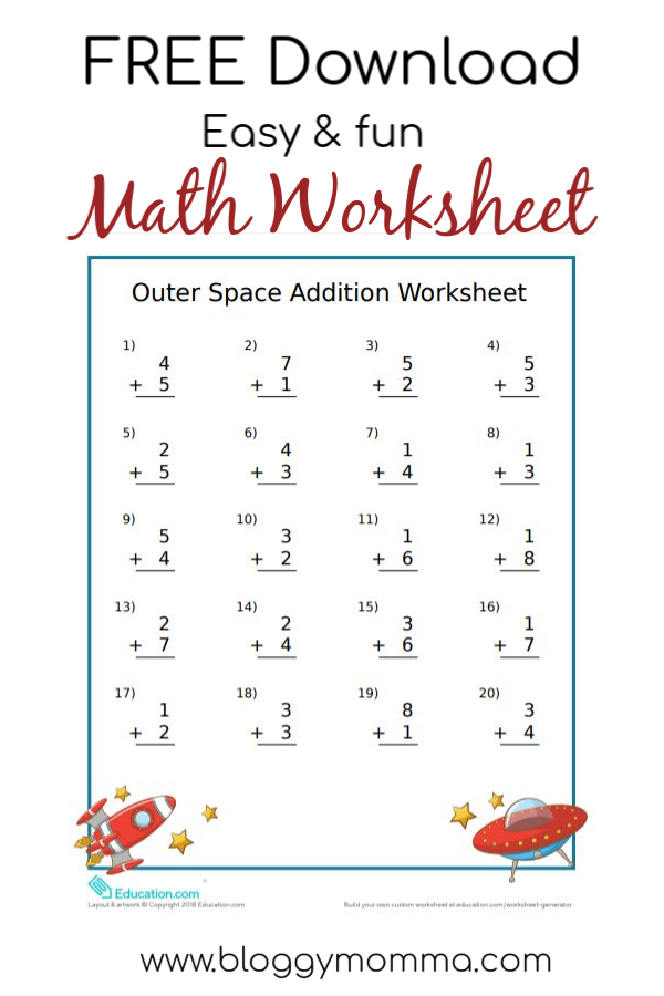 Easy And Fun Outer Space Themed Math Worksheet