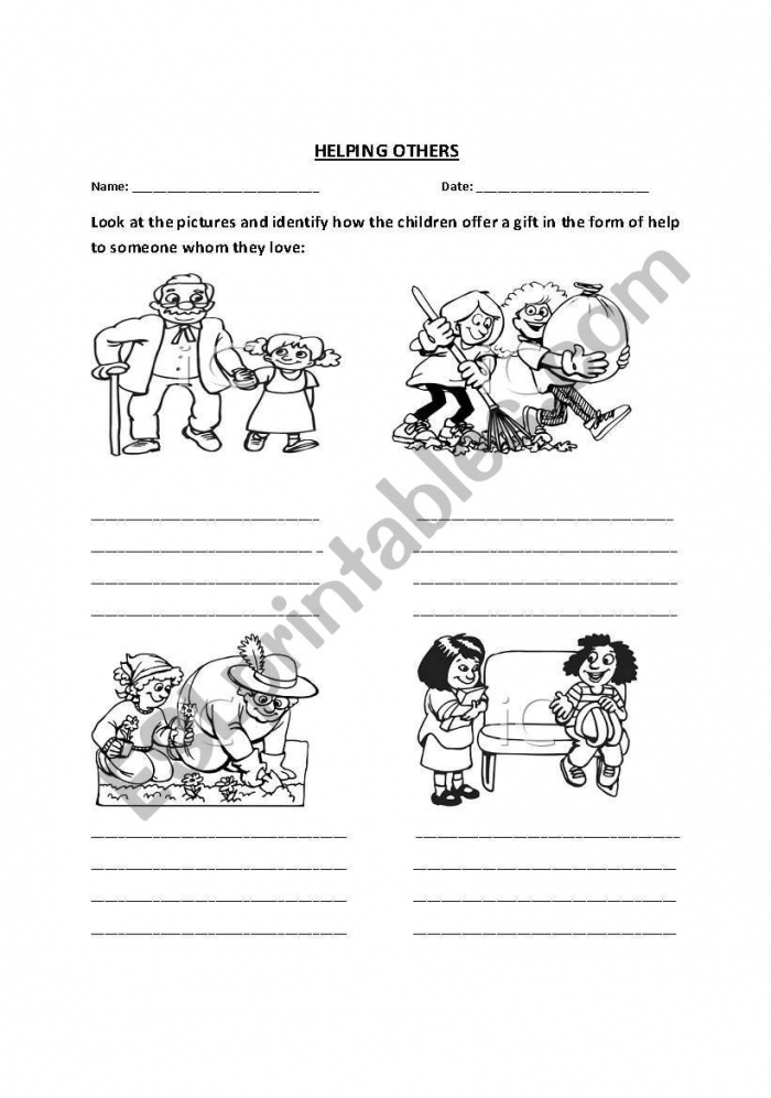 English Worksheets Helping Others