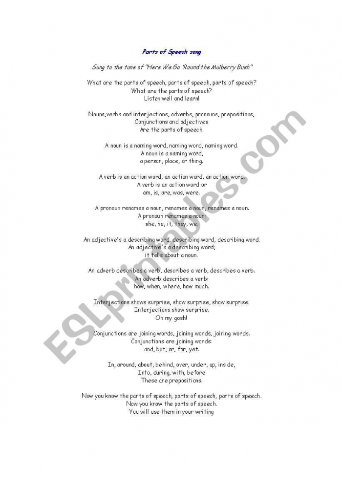 English Worksheets Parts Of Speech Song