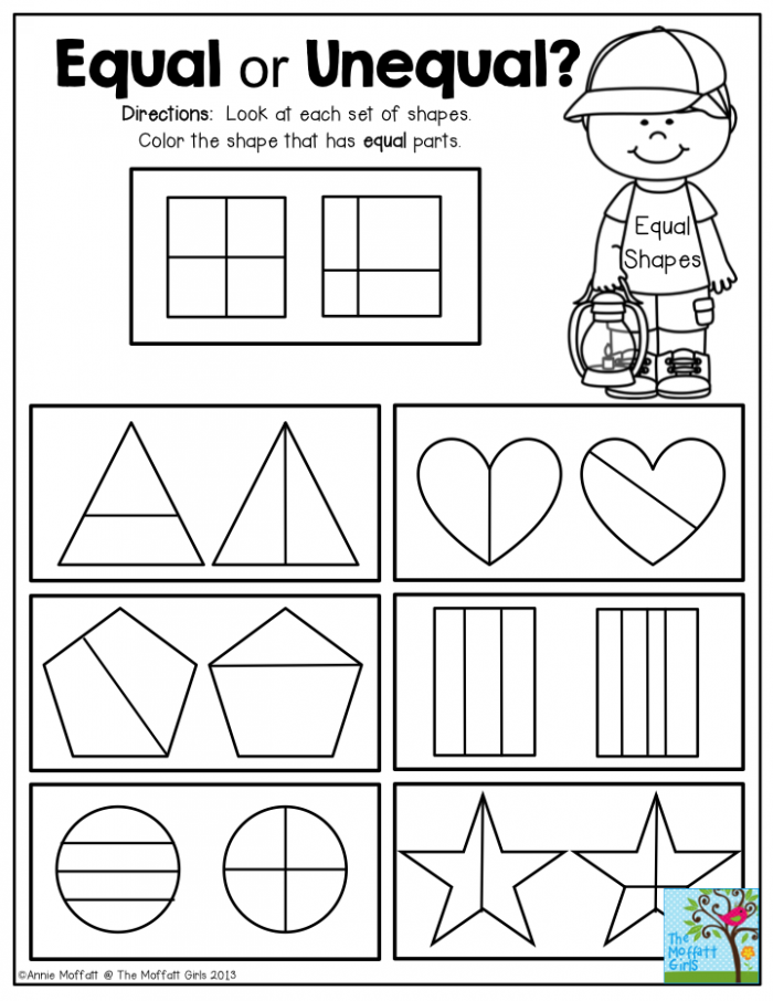 Equal Or Unequal Fractions Look At Each Set Of Shapes And Color