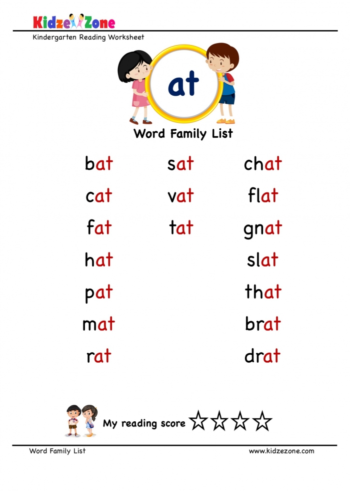 Explore And Learn Words From At Word Family With Word List Worksheet