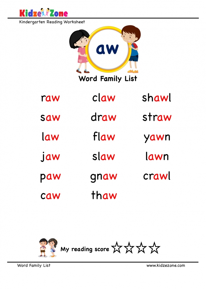 Explore And Learn Words From Aw Word Family With Word List Worksheet