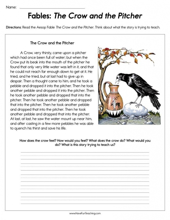Fables The Crow And The Pitcher Worksheet