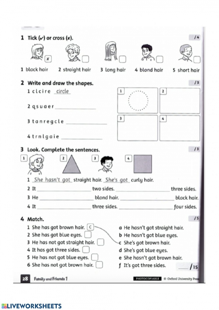Family And Friends  Unit  Test Worksheet
