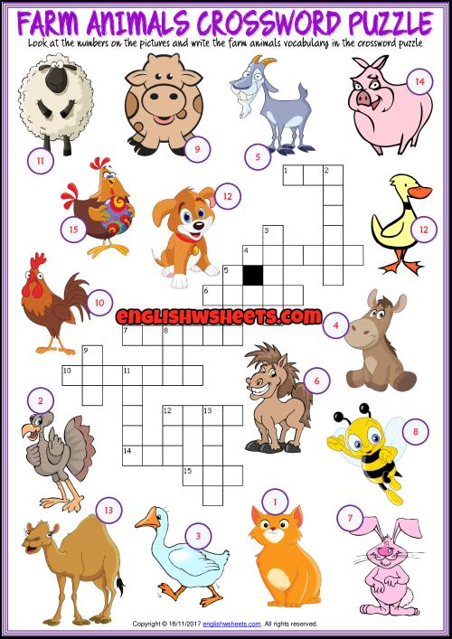 Farm Animals Esl Printable Crossword Puzzle Worksheet