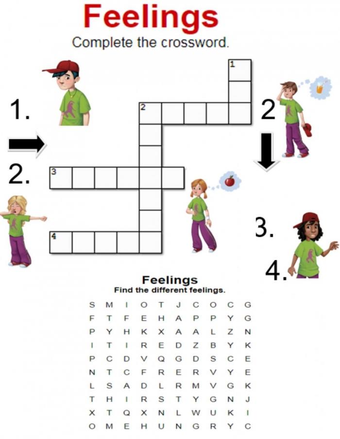 Feelings Crossword And Wordsearch Worksheet
