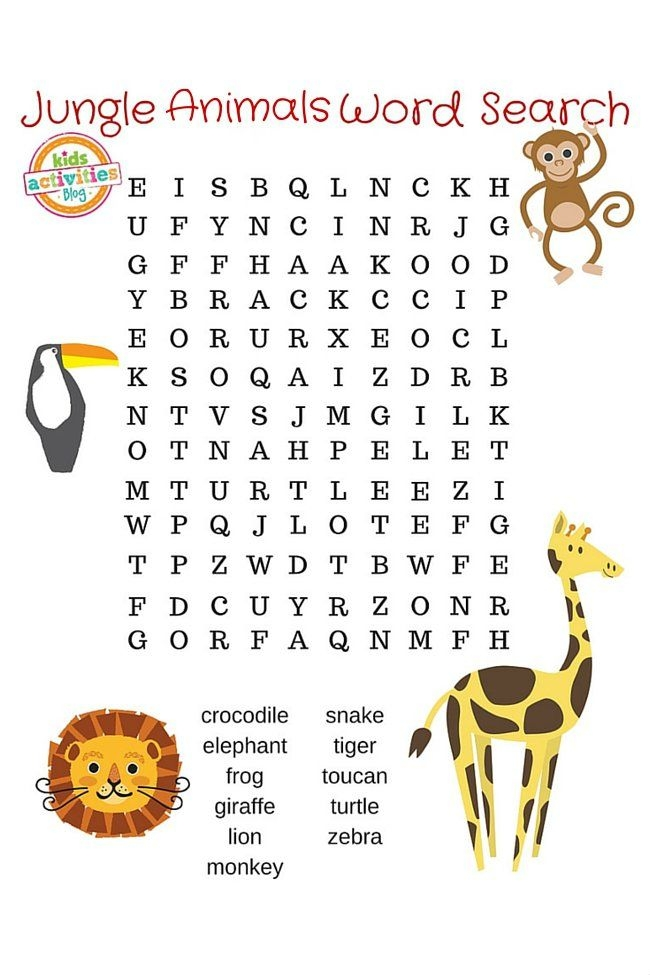 Find All  Animals With This Free Printable Jungle Animals Word
