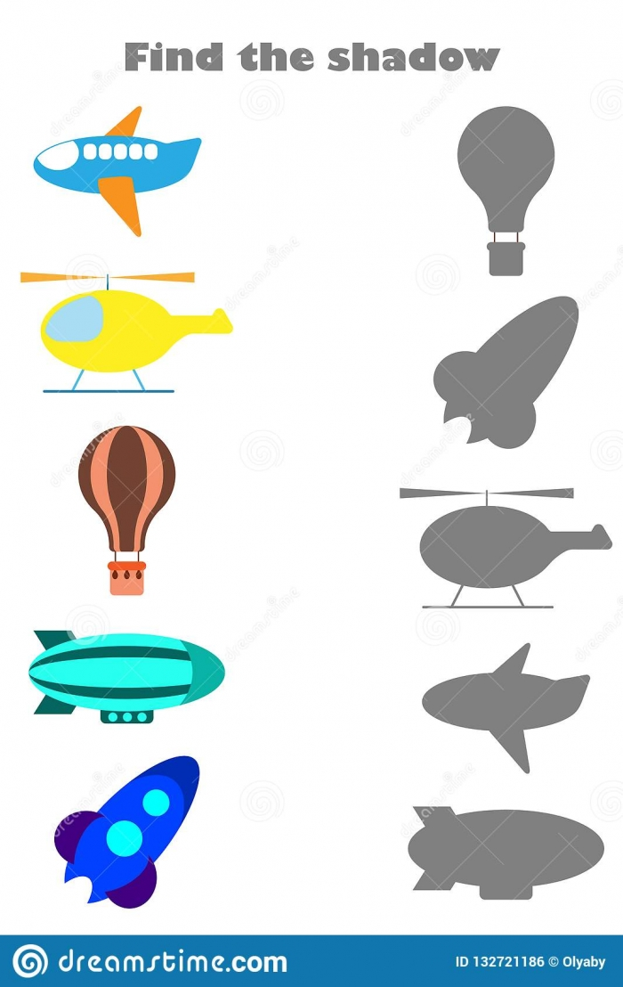 Find The Shadow Game With Pictures Of Air Transport For Children