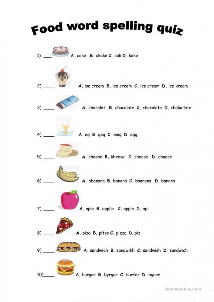 Food Spelling Quiz English Esl Worksheets For Distance Learning