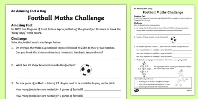 Football Math Word Problems